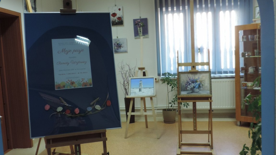 Plakat zapraszający na wystawę prac Renaty Wójtowicz.