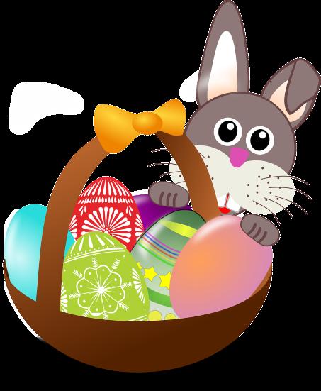 wielkanocna grafika przedstawiająca króliczka i pisanki